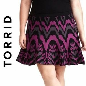 TORRID Skater Skirt 2X Black Gray Purple Knit